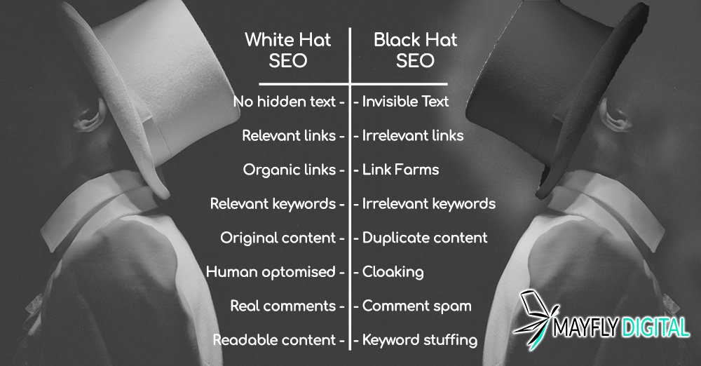 white hat vs black hat seo whats the difference mayfly digital tips